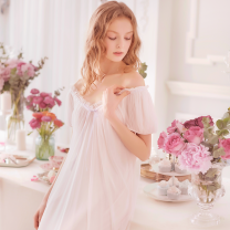 Nightdress ROSE TREE Off white, soft pink XS,S,M,L,XL Sweet Short sleeve Leisure home Short skirt summer Solid color youth V-neck spandex lace 81% (inclusive) - 95% (inclusive) Mesh fabric s15030