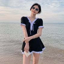 one piece  Little pink M,L,XL black Skirt one piece With chest pad without steel support female Short sleeve Casual swimsuit Solid color backless