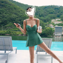 one piece  Wave pet S,M,L,XL Black, mint Skirt one piece Steel strap breast pad Nylon, spandex Sleeveless Solid color backless