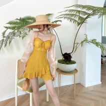 one piece  Little pink S,M,L Yellow, apricot Skirt one piece With chest pad without steel support Nylon, polyester, others female Long sleeves Casual swimsuit Solid color backless