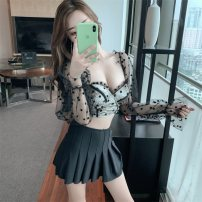Split swimsuit Little pink Black dots M,L,XL Skirt split swimsuit Steel strap breast pad female