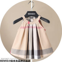 Dress Apricot, jujube female Bemidji / Bemidji Cotton 95% polyethylene terephthalate (polyester) 5% summer Britain Skirt / vest lattice cotton A-line skirt 12 months, 6 months, 9 months, 18 months, 2 years old, 3 years old, 4 years old, 5 years old