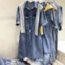 Dress Summer 2021 Yellow shawl, grey hat M,L,XL Short sleeve commute Polo collar High waist Solid color routine Korean version 71% (inclusive) - 80% (inclusive) cotton
