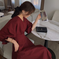 Dress Spring 2021 claret , yellow , white S,M,L,XL Mid length dress singleton  Short sleeve commute V-neck High waist Solid color Socket A-line skirt puff sleeve 18-24 years old Type A Other / other Korean version Fragrant wood 81% (inclusive) - 90% (inclusive)