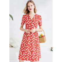Dress Summer 2020 gules 36,38,40,42,44 Mid length dress singleton  Short sleeve V-neck Socket other routine 30-34 years old Type X Psalter / poem 6C50205149 other