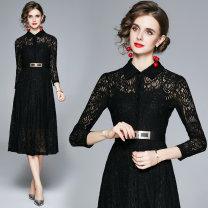 Dress Autumn 2020 black S,M,L,XL,2XL longuette Two piece set Long sleeves commute square neck middle-waisted routine