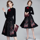 Dress Spring 2020 Black (side zipper pocket for brooch and belt) S,M,L,XL,2XL Mid length dress singleton  Long sleeves commute stand collar middle-waisted Broken flowers Socket Big swing routine Others 25-29 years old Retro Bow, tie 31% (inclusive) - 50% (inclusive)