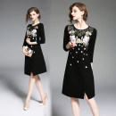 Dress Spring 2020 Black (lace stitched flower petal embroidery back zipper) S,M,L,XL,2XL three quarter sleeve Crew neck zipper Hollowed out, embroidered, stitched, lace