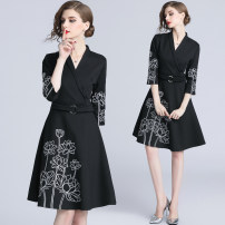 Dress Spring 2020 Black (elastic nylon cotton side zipper fake belt) S,M,L,XL,2XL Middle-skirt singleton  three quarter sleeve street V-neck middle-waisted other other A-line skirt routine Others 25-29 years old Type A Embroidery brocade cotton Europe and America