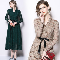 Dress Autumn of 2019 green M,L,XL,2XL,3XL Mid length dress singleton  Long sleeves street stand collar middle-waisted Solid color Single breasted Big swing routine Others Type A Lace Europe and America