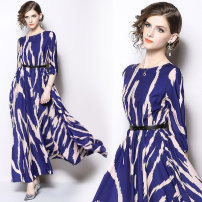 Dress Autumn 2020 Blue (zigzag print elastic waist) belt S,M,L,XL longuette singleton  three quarter sleeve street Crew neck Elastic waist other Socket Big swing routine Others 30-34 years old Type A other Cellulose acetate Europe and America