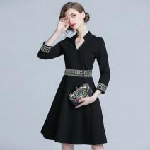 Dress Spring 2020 Black (Hepburn stretch Roman V-neck, 3 / 4 sleeves) S,M,L,XL,2XL Mid length dress three quarter sleeve V-neck zipper Big swing