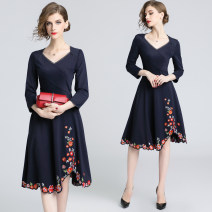 Dress Spring 2021 Dark blue (4-sided V-neck elastic back zipper embroidery) S,M,L,XL,2XL Middle-skirt singleton  Nine point sleeve street V-neck middle-waisted Solid color zipper Irregular skirt routine 25-29 years old Type X Embroidery, zipper 31% (inclusive) - 50% (inclusive) Europe and America