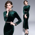 Dress Autumn of 2019 Dark green (fishtail dress with vertical collar and beaded buttocks) S,M,L,XL,2XL longuette singleton  Long sleeves commute stand collar middle-waisted Solid color zipper One pace skirt routine Type H lady Stitching, beading, zipper velvet polyester fiber