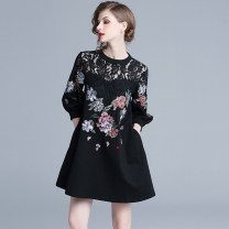 Dress Spring 2020 Black (hollow out embroidered Lantern Sleeve with pocket) S,M,L,XL,2XL Short skirt singleton  three quarter sleeve street Crew neck Loose waist Decor zipper A-line skirt routine Embroidery, lace 31% (inclusive) - 50% (inclusive) Europe and America