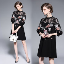 Dress Spring 2020 Black embroidery (7-point Lantern Sleeve with pocket) S,M,L,XL,2XL Mid length dress three quarter sleeve zipper bishop sleeve Hollowed out, embroidered, stitched, lace