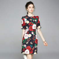 Dress Spring 2020 Back zipper with rose print, beaded nail and Sequin S (elastic sleeve with lining), m (elastic sleeve with lining), l (elastic sleeve with lining), XL (elastic sleeve with lining), XXL (elastic sleeve with lining) Short sleeve Crew neck zipper