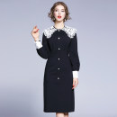 Dress Autumn 2020 Black (single breasted back zipper with lining) S (free white lace Lapel), m (free white lace Lapel), l (free white lace Lapel), XL (detachable white lace Lapel), XXL (detachable white lace Lapel) singleton  Long sleeves commute Doll Collar middle-waisted Solid color zipper Others