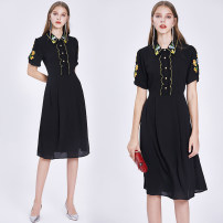 Dress Spring 2021 Black (bubble sleeve positioning embroidered side zipper with lining) S,M,L,XL,2XL Mid length dress singleton  Short sleeve street Polo collar middle-waisted Solid color Socket A-line skirt puff sleeve Others 25-29 years old Type A 31% (inclusive) - 50% (inclusive) Chiffon