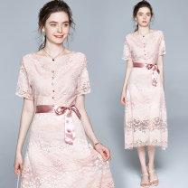Dress Summer 2020 Pink (single row buckle V-neck back zipper) belt M (pink lining), l (pink lining), XL (pink lining), XXL (pink lining) longuette Short sleeve V-neck zipper Ruffles, hollows, lace