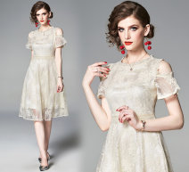 Dress Summer of 2019 Apricot S,M,L,XL,2XL Mid length dress singleton  street Crew neck middle-waisted zipper Type A Lace Europe and America