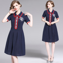 Dress Summer of 2019 navy blue S,M,L,XL,2XL singleton  Short sleeve street Polo collar middle-waisted Single breasted routine 25-29 years old Diamond inlay, embroidery 31% (inclusive) - 50% (inclusive) Europe and America