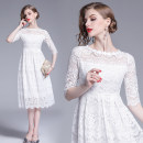 Dress Summer 2020 M,L,XL,2XL Mid length dress elbow sleeve Crew neck High waist A-line skirt routine Type A Lace