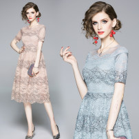 Dress Summer 2020 Pink (perspective mesh with lace back zipper), blue (perspective mesh with lace back zipper) S,M,L,XL,2XL longuette Short sleeve street Crew neck middle-waisted zipper routine Type A Lace Europe and America