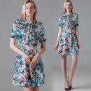 Dress Summer 2020 wathet M,L,XL,2XL Middle-skirt Short sleeve stand collar Decor A-line skirt