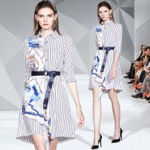 Dress Autumn of 2019 Long sleeve, short sleeve S,M,L,XL Mid length dress singleton  commute stripe Lace up, asymmetrical 71% (inclusive) - 80% (inclusive)