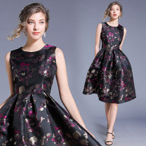 Dress Autumn of 2019 S,M,L,XL,2XL Mid length dress singleton  Sleeveless commute Crew neck middle-waisted Type A
