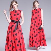 Dress Summer 2020 S,M,L,XL,2XL longuette singleton  street Crew neck Loose waist Dot zipper Big swing Type A Europe and America