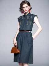 Dress Summer 2020 navy blue S,M,L,XL,2XL,3XL,4XL longuette singleton  Sleeveless commute Polo collar middle-waisted Solid color Single breasted A-line skirt 25-29 years old Angel City Bows, hand worn Denim