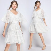 Dress Summer of 2019 S,M,L,XL,2XL longuette singleton  elbow sleeve street V-neck High waist Solid color Socket Big swing Lotus leaf sleeve Type A Zipper, lace 91% (inclusive) - 95% (inclusive) Lace Europe and America