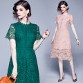 Dress Summer 2020 Green (hollow water soluble lace back zipper), pink (water soluble lace with lining) S,M,L,XL,2XL Mid length dress singleton  Short sleeve commute Crew neck middle-waisted zipper other routine Others
