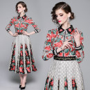 Dress Autumn of 2019 Decor M,L,XL,2XL Mid length dress singleton  Long sleeves street other middle-waisted Decor Single breasted Big swing Others 18-24 years old Type A 91% (inclusive) - 95% (inclusive) other polyester fiber Europe and America