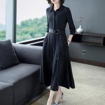Dress Autumn 2020 Black (bubble sleeve side zipper, 3 / 4 sleeve front split) M (2 pockets for belt), l (2 pockets for belt), XL (2 pockets for belt), XXL (2 pockets for belt), 3XL (2 pockets for belt) Miniskirt singleton  three quarter sleeve street Polo collar middle-waisted stripe Single breasted