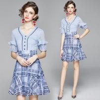 Dress Summer 2020 Sky blue (3-D flocking and printing lace back zipper) S (lining is blue pearl Chiffon), m (lining is blue pearl Chiffon), l (lining is blue pearl Chiffon), XL (lining is blue pearl Chiffon), XXL (lining is blue pearl Chiffon) Miniskirt singleton  three quarter sleeve street V-neck