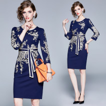 Dress Autumn of 2019 Navy (embroidered back zipper waist tie) S,M,L,XL,2XL Middle-skirt singleton  three quarter sleeve street Crew neck High waist Big flower zipper other routine Others 25-29 years old Type H Embroidery, zipper 31% (inclusive) - 50% (inclusive) Europe and America