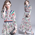 Dress Autumn of 2019 Picture color M,L,XL,2XL longuette singleton  Nine point sleeve commute middle-waisted Single breasted A-line skirt routine Others 25-29 years old Type A printing other polyester fiber