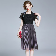 Dress Summer 2020 Mid length dress singleton  Short sleeve street square neck middle-waisted Solid color zipper A-line skirt routine Others 25-29 years old Type A 31% (inclusive) - 50% (inclusive) Europe and America
