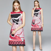 Dress Summer 2020 Pink M. L, XL, 2XL, XXL weight 0.2 Short skirt other Sleeveless street Crew neck middle-waisted Socket A-line skirt routine Others 30-34 years old Type A 31% (inclusive) - 50% (inclusive) other Cellulose acetate Europe and America