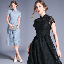 Dress Spring 2020 Light blue (zipper bra with buckle decoration), black (zipper bra with buckle decoration) S,M,L,XL,2XL Mid length dress singleton  Short sleeve commute stand collar middle-waisted Type A 91% (inclusive) - 95% (inclusive) Lace