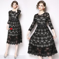 Dress Winter of 2018 black M,L,XL,2XL Mid length dress singleton  Long sleeves street Crew neck middle-waisted zipper routine Type A Lace Europe and America
