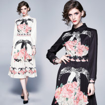 Dress Spring 2020 White (side zipper with pink positioning print), black (side zipper with pink positioning print) M,L,XL,2XL Miniskirt Long sleeves Polo collar middle-waisted Decor Pleated skirt routine