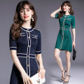 Dress Summer 2020 Green, blue Average weight 0.45kg Middle-skirt singleton  Short sleeve street Crew neck middle-waisted Solid color Single breasted A-line skirt routine Others 35-39 years old Type A Button 8912 real spot 51% (inclusive) - 70% (inclusive) other Europe and America