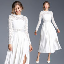 Dress Spring 2021 White (hollow out) hook lace with pleated back zipper S,M,L,XL,2XL longuette Long sleeves street Crew neck middle-waisted Solid color zipper Pleated skirt 25-29 years old Type A Other / other Hollowed out, Gouhua hollowed out, splicing, zipper, lace Lace Europe and America