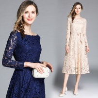 Dress Spring 2020 Apricot (wavy collar side zipper) belt, blue (wavy collar side zipper) belt S,M,L,XL,2XL longuette singleton  Long sleeves commute One word collar middle-waisted Solid color other Princess Dress routine Others 30-34 years old Type A Retro 81% (inclusive) - 90% (inclusive) Lace nylon