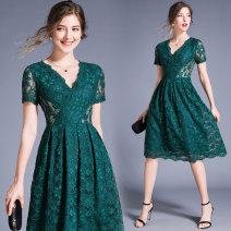 Dress Summer 2020 Green back zipper S,M,L,XL,2XL longuette singleton  Short sleeve commute V-neck middle-waisted zipper other Type A polyester fiber