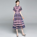 Dress Summer 2020 Purplish red (lace up with lotus leaves on chest) vintage maid skirt S (printed lace with lace back zipper), m (printed lace with lace back zipper), l (printed lace with lace back zipper), XL (printed lace with lace back zipper), XXL (printed lace with lace back zipper) singleton